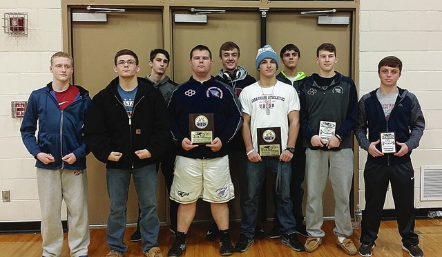 Photo Provided Piqua wrestlers who competed at the West Jefferson Invitational included front row (left to right) Sam Herndon (second place), Andrew Bolin (second place), Jake Hetzler (champion), Hunter Bryant (champion), Nick Baker (fourth place) and Tristan Hostetter (fifth place). In back are Jesse Ceyler, Brennan Hicks and Daniel Powis.