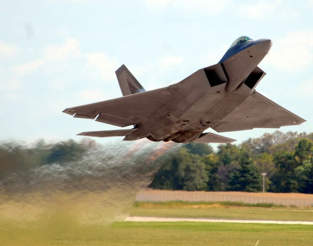 Mike Ullery | Daily Call file photo An F-22 Raptor takes to the sky at Rickenbacker Air National Guard Base near Columbus to fly a demonstration at the last Gathering of Mustangs and Legends.