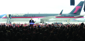 Republican presidential candidate Donald Trump speaks at the Dayton International Airport on March 11, 2016.