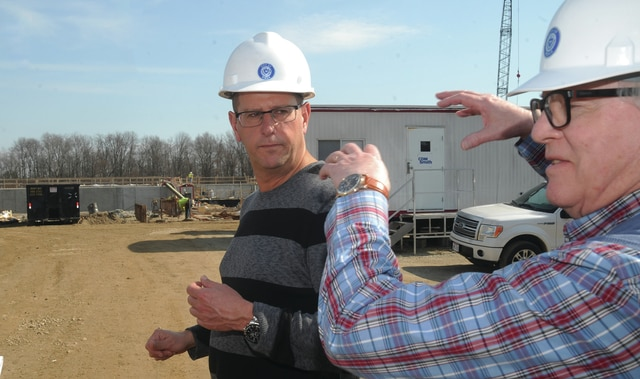 Mike Ullery | Daily Call Bob Jennings, left, assistant water superintendent for the City of Piqua, and Dave Burtner, director of utilities explain the layout of the new water treatment plant that is currently under construction.