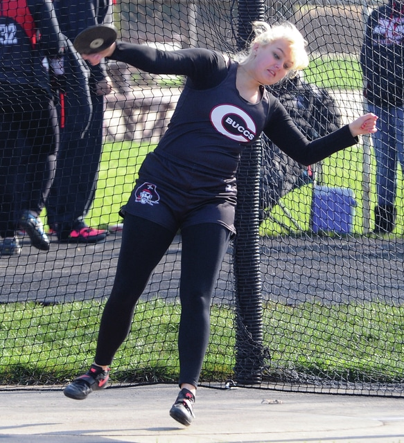 Mike Ullery | Daily Call Danielle Swabb of Covington throws the discus during Saturday's Lady Tiger's Classique at Versailles.