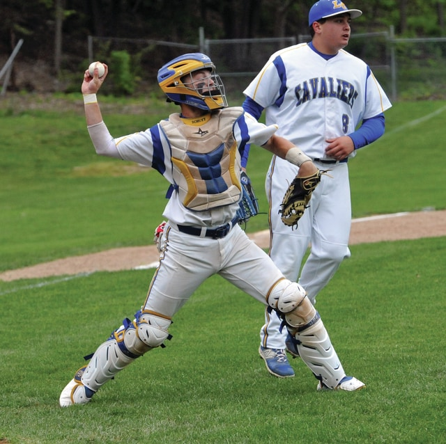 Mike Ullery/Call File Photo Cather Max Schutt and pitcher Nate Bosway are back for Lehman Catholic.
