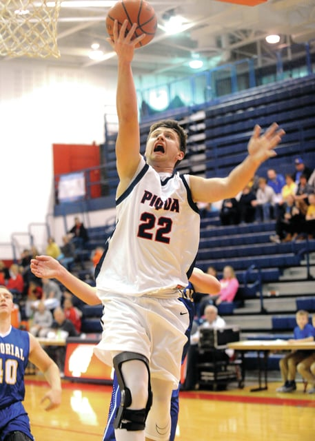 Mike Ullery | Daily Call Piqua senior Colton Bachman lays up a shot against St. Mary's during a January game at Garbry Gym.