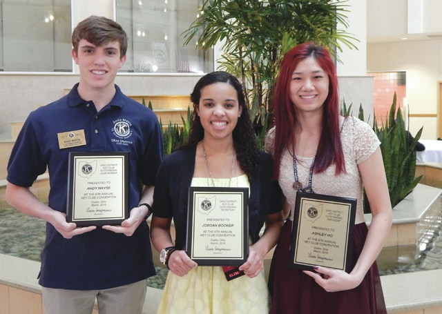 Provided photo Pictured left to right are Piqua High School Key Club members Andy Mayse (Division 3 Lieutenant Governor), Jordan Booker (Secretary/Treasurer), and Ashley Ho (President).