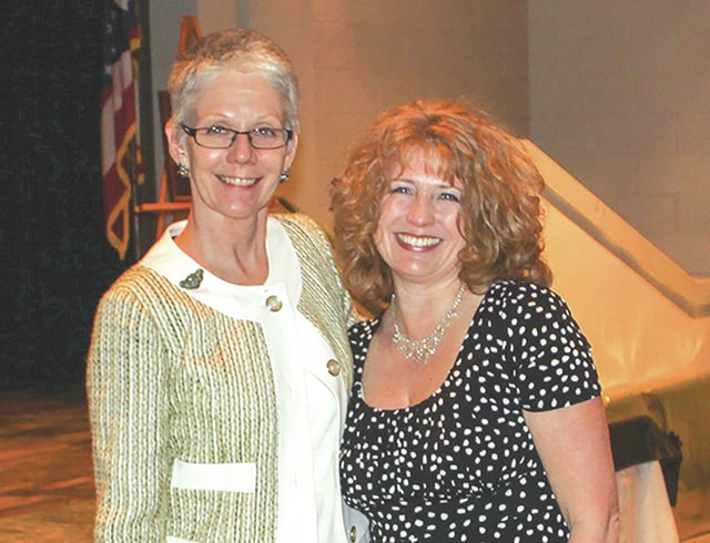 Provided photo Kim Kiehl, right, with Edison State President Dr. Doreen Larson, was recognized for 25 years of employment during the 37th annual Employee Recognition Banquet on March 4.