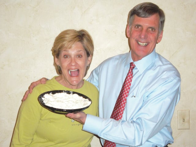 Sharon Semanie | For the Daily Call The highest bidder on a cherry cake in this year's Cakes for a Cause will be given an opportunity to throw a pie in the face of Piqua Mayor Kazy Hinds or Funeral Director Michael Yannucci during live auction on April 21.