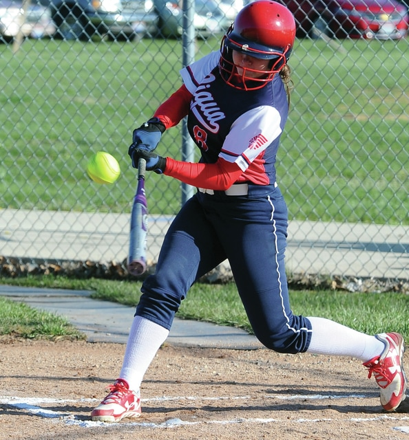 Mike Ullery | Daily Call Megan Anderson strokes a single for Piqua Tuesday against Trotwood-Madison.