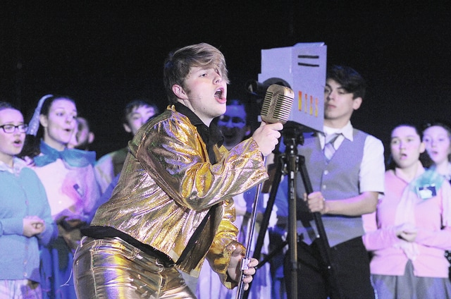 "Anthony Weber | Civitas Media Tyler Lamb portrays Conrad Birdie in a Troy Christian High School production of ""Bye Bye Birdie."" The show opens this evening at 7 p.m."