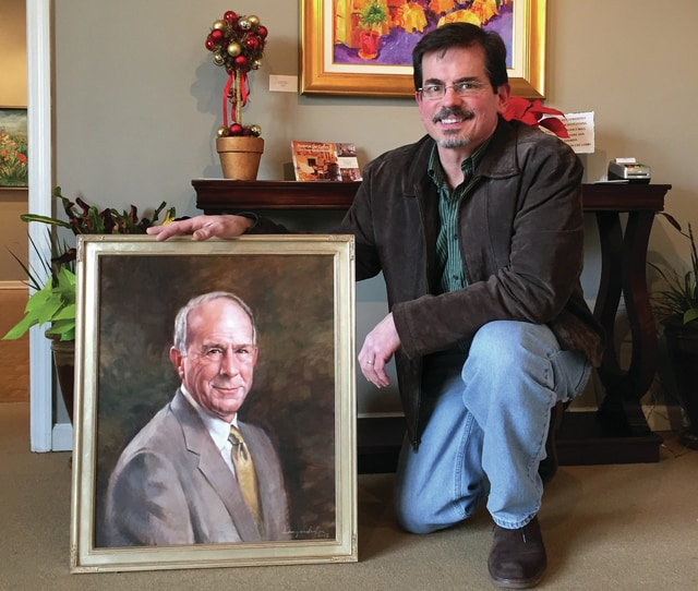 Provided photo Artist Tim Langenderfer shows one of his works, a portrait of late Ohio businessman Eric Goettsch. Langenderfer, an instructor at Lehman Catholic High School and the University of Dayton, will demonstrate his craft during Taste of the Arts on May 20.