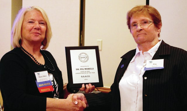 Provided provided Mary Ellen Buechter, ABLE staff and OAACE state board member presented the award to Dr. Morelli.