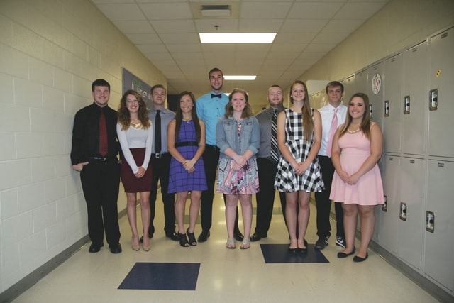 "Provided photo The 2016 prom court at Bradford High School includes, left to right, Brandon Mitchell, Cailee Brown, Austin Bubeck, Ciara Yohey, Rhyan Turner, Kirsten Harmon, Bailey Powell, MacKenzie Weldy, Daryen Booker, and Courtney Addington. With a theme of ""Frozen,"" Bradford's prom will take place May 7 at the high school."