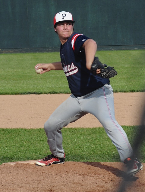 Rob Kiser/Call Photo Piqua pitcher Blake Wright throws from the stretch Monday at Sater Park against Greenville.