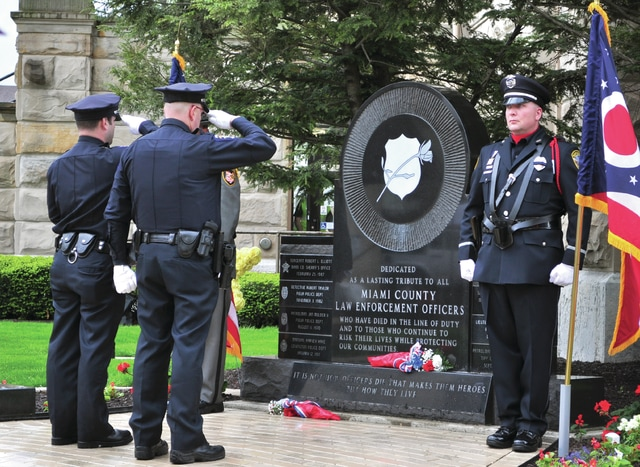 Cecilia Fox | Troy Daily News Officers paid tribute to all the Miami County law enforcement officers lost in the line of duty during the annual Miami County Police Memorial Day event held Thursday.