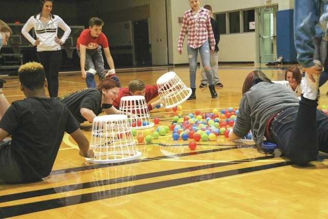 Provided photo Piqua Junior High eighth grade students participate in an exciting game of Hungry Hungry Hippos during a recent visit to Edison State Community College.