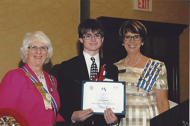 Provided photo Pictured, from left, OSDAR State Regent Sandra McCann, Ethan Marsh OSDAR State Winner Christopher Columbus Essay Contest, and Darlene West, OSDAR American History Committee Chairman.