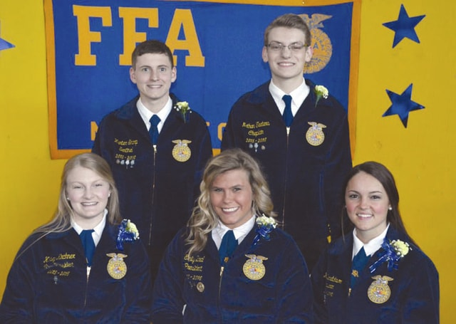 Provided photo The May 2016 Miami East FFA Members of the Month are Emily Beal, Katie Bendickson, Kelsey Kirchner, Hunter Sharp and Nathan Teeters.