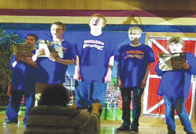"<p class=""x_MsoNormal"">Nicholas School's spring concert recently was performed by the Nicholas School students at the Upper Valley Career Center. Students pictured include: Jordon, Ben, Dustin, Austin, and Jelissa. The students performed songs from the ""American Dream."""