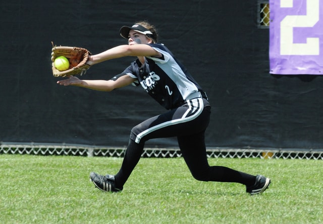 Ben Robinson/GoBuccs.com Covington's Ashley Cecil makes a running catch in left field.