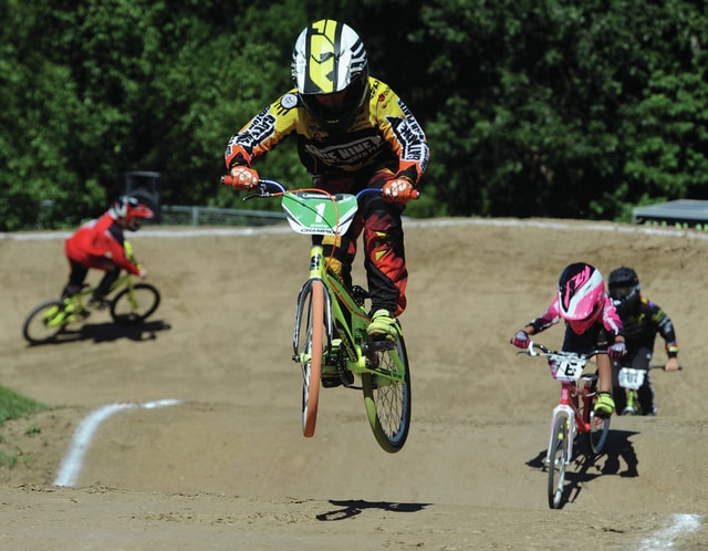 Mike Ullery/Daily Call A heat of BMX'ers compete at Upper Miami Valley BMX track on South Street on Saturday afternoon.