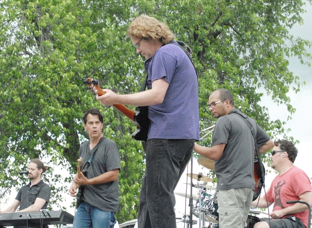 Anthony Weber | Civitas Media Local musicians Electrobek, which includes Bryan (Hazy) Russell, John Jakubek, Wes Williams, Todd Oaks and Jon Berry, perform Sunday near Troy Memorial Stadium at the 2016 Troy Strawberry Festival.