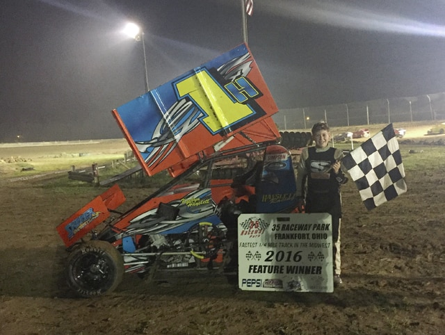 Korbyn Hayslett picked up a feature win Saturday night at Frankfort.