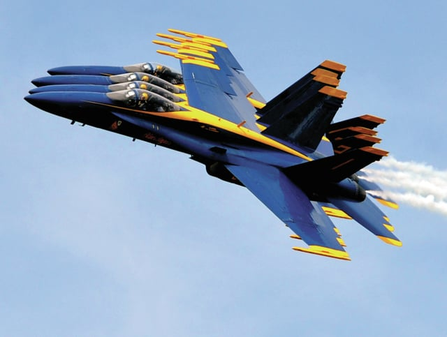 Mike Ullery | Daily Call file photo The United States Navy Blue Angels perform over the Dayton Air Show in 2014.