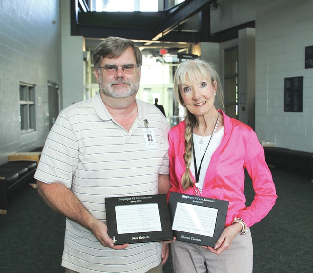 Provided photo Edison State Community College recently named Rick Roberts, associate professor of nursing, and Sharon Thomas, college resource specialist, as spring Employees of the semester.