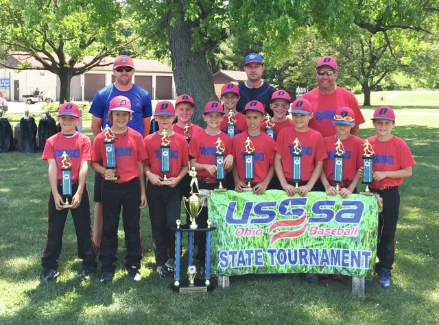 Photo Provided The Ohio 10-U baseball team finished as state runnerup in the USSSA Ohio baseball state tournament in the major division. The team includes front row (left to right): AJ Harlamert, Baylen Blockberger, Hayden Frey, Braylen Harlamert, Hudson Hill, Mickey Anderson, Brayden Swank, Peyton Offenbacher. Second row: Layton Hughes, Hayden Quinter and Gabe White. Not pictured is Tucker Miller. In back are coaches Ryan Frey, Jason Hill and Shawn Anderson.