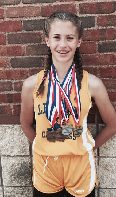 Photo Provided Lindsey Magoteaux won a number of medals at the junior high state track and field meet.