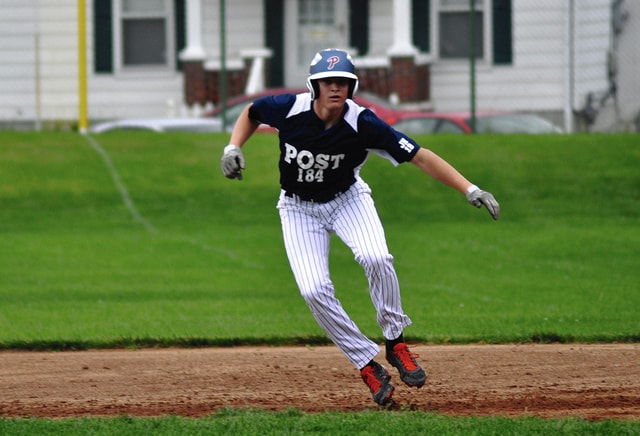 Call File Photo Post 184's Noah Richard takes a lead in a game earlier this season.