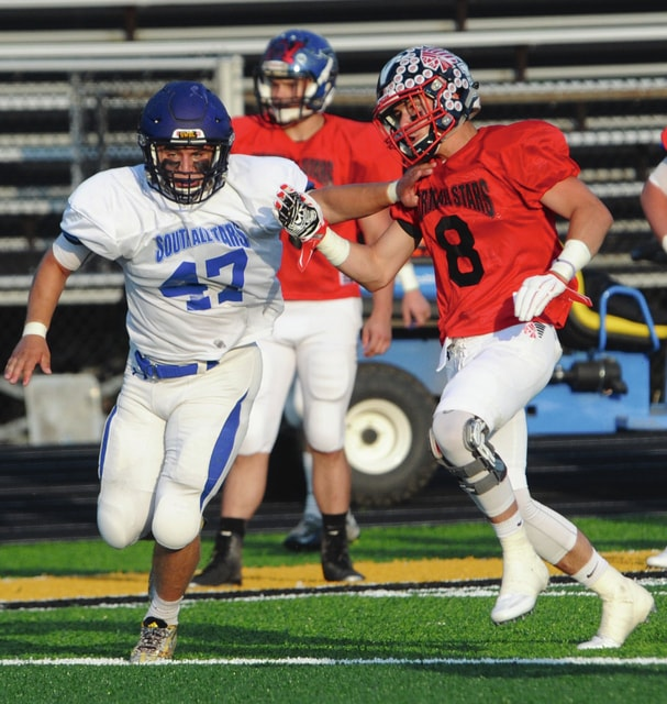 Mike Ullery/Daily Call Piqua's Alex Nees played in the MVFCA Pigskin Classic Friday night.