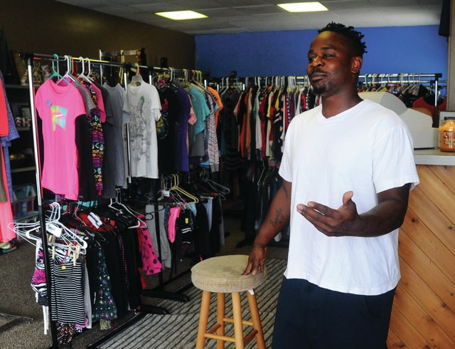 Gary Burns, owner of Sonny Boy Thrift Store, at 201 N. Wayne St. in Piqua, talks about the variety of items available in the newly opened shop.