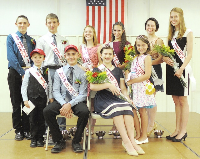 Anthony Weber | Civitas Media The Miami County Fair Royalty was announced during the 2016 Miami County Fair Junior Fair King and Queen, Prince and Princess Contest Saturday inside the Duke Lundgard Youth Assembly Building at the Miami County Fairgrounds. The royalty includes front row from left: Miami County Fair Prince James Burkett, Miami County Fair King Keagan Carsey, Miami County Fair Queen Megan Troy and Miami County Fair Princess Addilynn Grove. King contestants back row from left: first runner-up Thomas Burkett, second runner-up Larkin Welbaum, Queen contestants second row from left: first runner-up Cheyenne Parke, second runner-up Caitlyn Cusick, third runner-up Victoria Hager and fourth runner-up Kristina Romie.