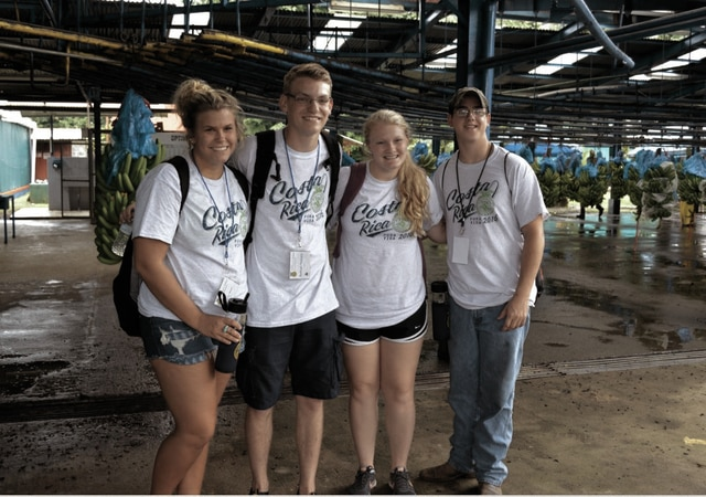 Miami County FFA National Winners and Finalists traveled to Costa Rica to tour the country's diverse agriculture from June 10-18. From left, Miami East FFA members Emily Beal, Nathan Teeters, Kelsey Kirchner and Covington's Zach Hastings are pictured at the Dole Banana Plantation.