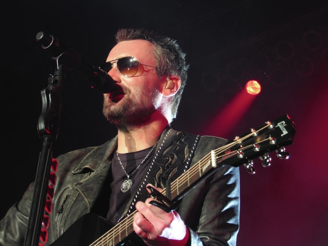 Melody Vallieu | Civitas Media Country music headliner Eric Church sings to a sea of fans during the final day of Country Concert in the Hills 2016 at Fort Loramie on Saturday.