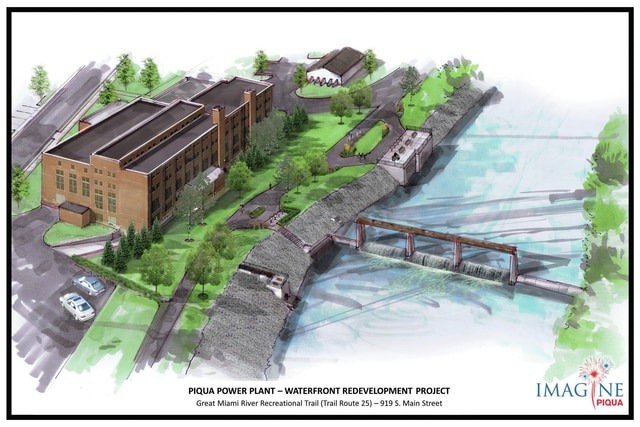 An image rendering of the redevelopment project behind the old Piqua Power Plant on Main Street, which cleaned up the site behind the plant and made improvements and additions to the bike path.