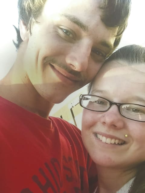 Devin Micheal Kouts (left) and Lacey Paige Helen Tobe (right) announce their engagement.
