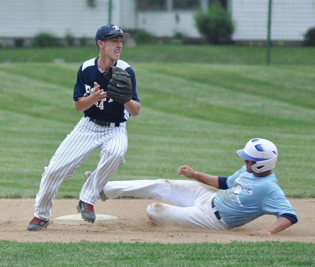 Rob Kiser/Call Photo Post 184's Howie Ludwig looks toward first base after getting a force out of Armoloy's Andrew Tincher at second base Saturday.