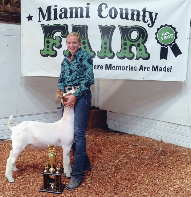 Mike Ullery | Daily Call Eliza Hershberger, 18, of Miami East won Showman of Showmen in the goat division at the Miami County Fair on Saturday.