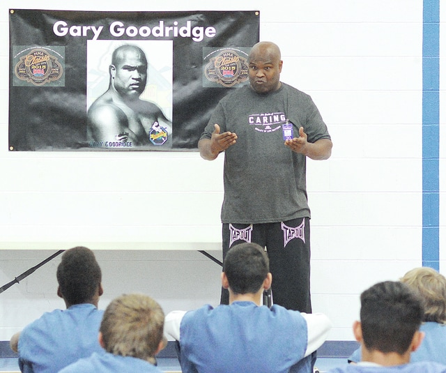 """Anthony Weber   Civitas Media Former UFC Heavyweight championship contender Gary Goodridge, from Barrie, Ontario, visited youth at the West Central Juvenile Detention Center Friday in Troy. Goodridge chose the location to give a positive message and inspiration to the youth. """"If you have the will and drive you can do anything,"""" he said. Goodridge was joined by """"Legends of the Cage"""" tour manager Brian Moore."""