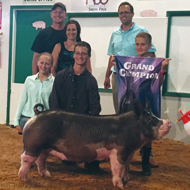 Provided photo Bryan Miller, 16, Covington, won Grand Champion Market Gilt on Saturday at the Miami County Fair. He is the son of Jamie and Debi Miller. Pictured are Bryan, his sister Brenna, 14 that showed the pig, brother Britton, 10, holding the banner, his parents and judge Matthew Nott.