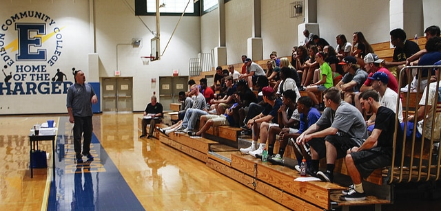 Photo Provided Edison State Community College athletic director Nate Cole addresses student-athletes during the second annual Athletics Day.