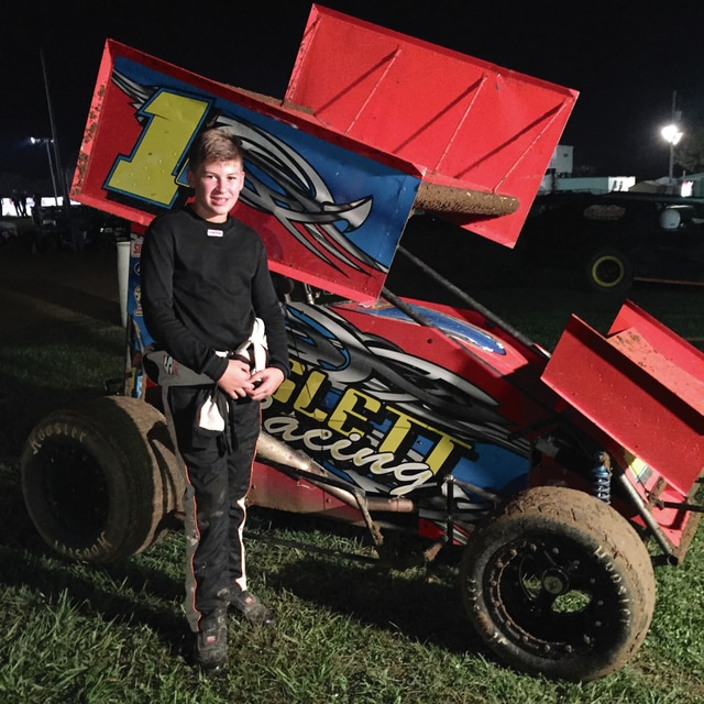 Photo Provided Korbyn Hayslett picked up another feature win recently at 35 Raceway in Frankfort, Ohio.
