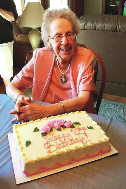 """Provided photo <p style=""""margin-bottom: 0in;"""">A native of Piqua, Elinor (May) Gattshall, celebrated her 105th birthday on Sept. 4. To celebrate, she enjoyed a family get-together following church services and a special meal prepared by the staff at Brookdale Piqua, where she lives."""