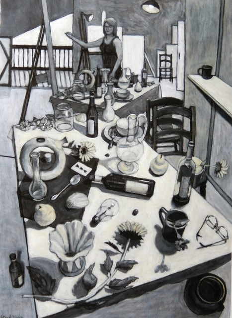 """Provided photo """"Self-Portrait Drawing Still Life"""" by Casstown resident Kathy A. Moore took the Best of Show award at the Piqua Arts Council's Annual Piqua Fine Art Exhibition. Visitors to the exhibition on the second floor of Apple Tree Gallery can vote for the People's Choice Award through Oct. 1."""