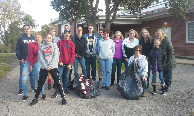 Provided photo On Oct. 22, teens from St. Boniface and St. Mary Parishes and their friends, volunteered to clean up Mote Park in Piqua. Pictured are: Jacob Schneider, Grace Ryan, Kristin McMurray, Logan Copsey, Zak Uhlenbrock, Gabe Knapke, Ethan Knapke, Luke Earhart, Nathan Copsey, Angelique LeMaster, Katelynn Pence, Sylvia Mitchell, and Sophie Mitchell. Adult helpers included Geri Ryan, Leah Mitchell, Cori Knapke, Mike Earhart, Diane Mengos, and Kathy Guillozet.