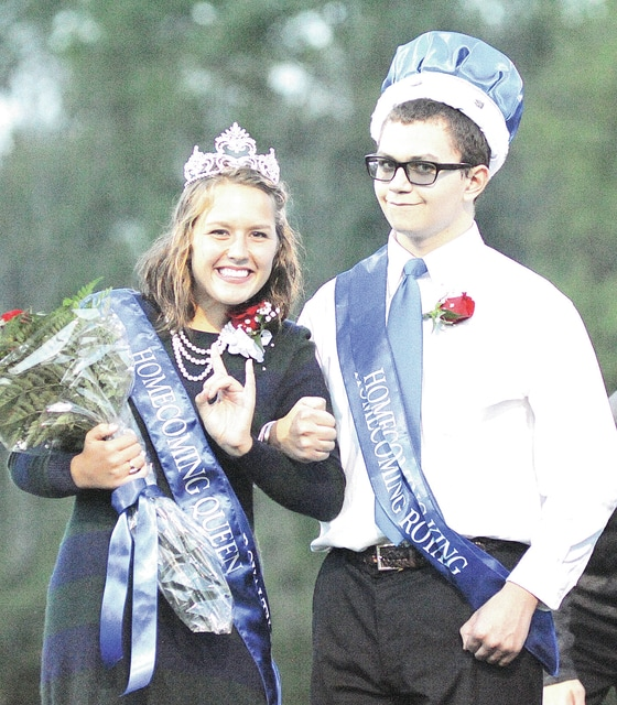 Anthony Weber | Civitas Media Miami East High School crowned its 2016-17 Homecoming queen and king on Friday prior to the boys' varsity football game against Bethel. Emma Linn was crowned queen, while Austin Kleiner was crowned king. Last year's homecoming king, Nathan Teeters and queen Lindsey Black were on hand to assist in crowning the new royalty. A parade kicked off the homecoming festivities Friday evening and concluded with a dance Saturday night at the school.