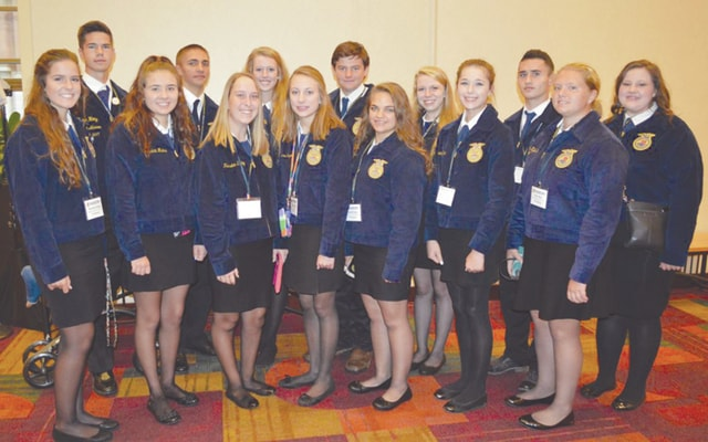 Provided photo Attending form the Miami East-MVCTC FFA Chapter were front row, left to right, Rachael Hodge, Jessica Hicks, Kearsten Kirby, Savannah Holzen, Elizabeth Bair, Jessica Gillum and Kylie Blair. Back row, Weston Hodge, Luke Gilliland, Liza Bair, Ethin Bendickson, Jessica Copeland, Keagan Carsey and Abbey Koontz.