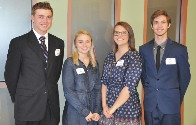 Provided photo Upper Valley Career Center Student Senate leaders recently were honored at a board of education meeting. They are, left to right, President Dylan Hensley, Houston; Vice President Nikki Allen, Fort Loramie; Treasurer Hadley Johnson, Troy; and Historian Drew Alt, Russia.