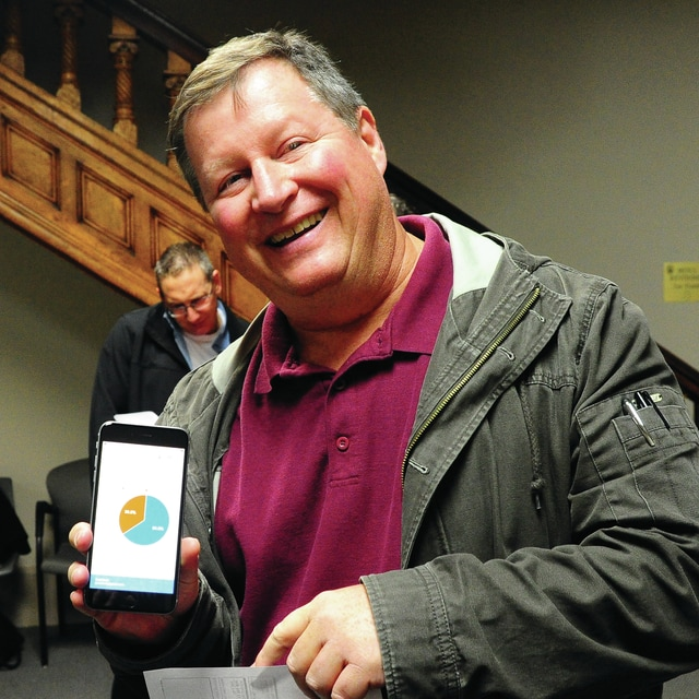 Mike Ullery | Daily Call Brad Reed of the Tri-County Board of Mental Health smiles as he displays the results from the board's renewal tax levy that passed by a substantial margin, nearly 70 percent in Miami County, according to unofficial results.